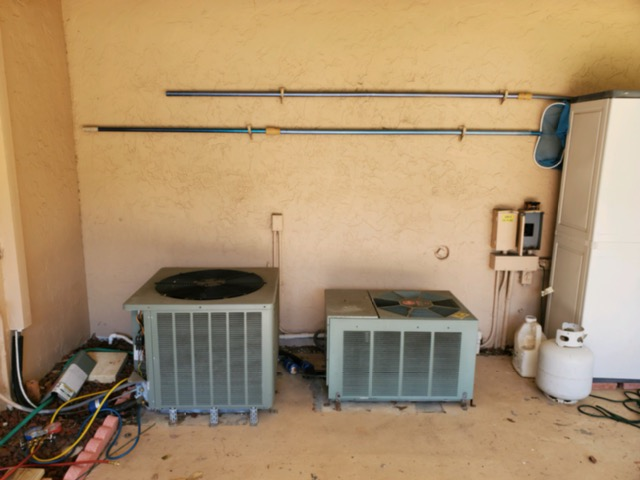 before two condensers